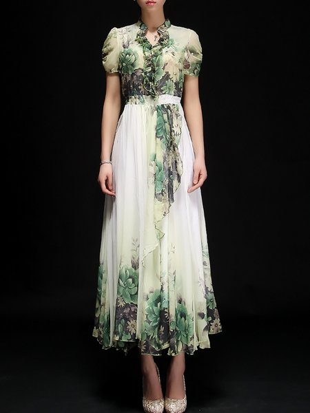 Green Chiffon Elegant Maxi Dress