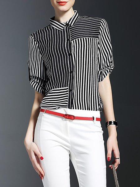 Black Silk Stripes Work Blouse