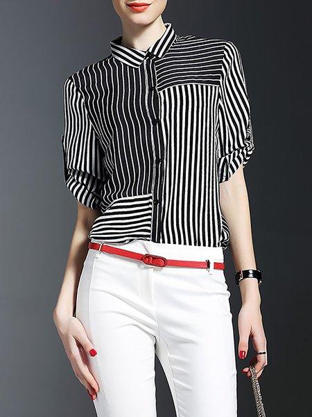 Black Silk Stripes Work Blouse