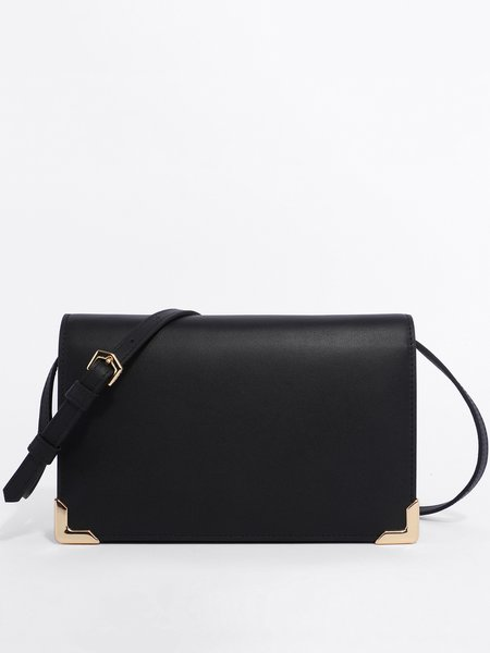 Black Snap Cowhide Leather Casual Crossbody