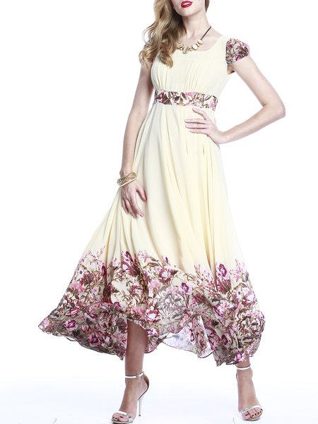 Floral Short Sleeve Elegant A-line Maxi Dress