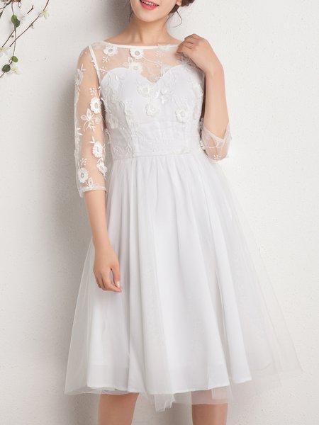 White Elegant Embroidered Midi Dress