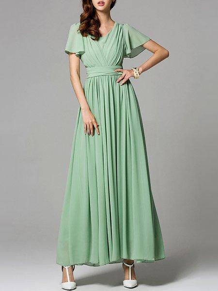 V Neck Shirred Frill Sleeve Boho Maxi Dress