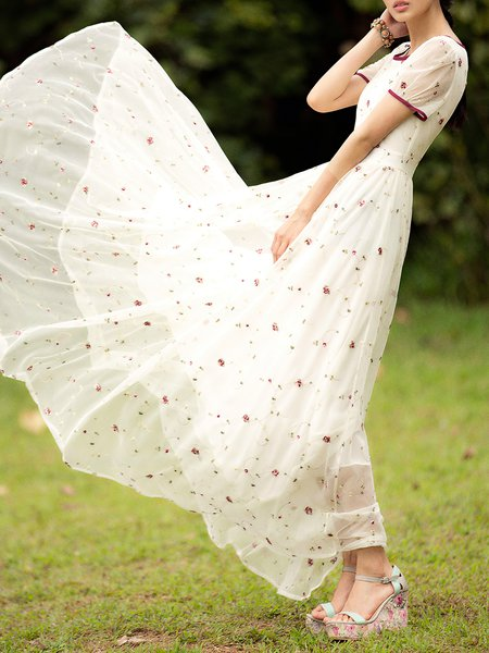 White Swing Girly Maxi Dress