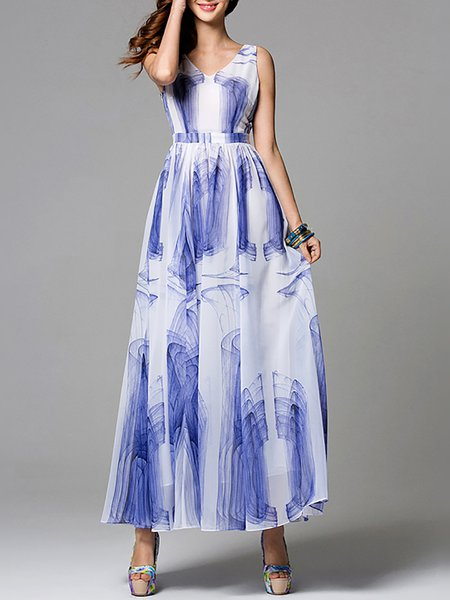 White Abstract Elegant Chiffon Swing Maxi Dress