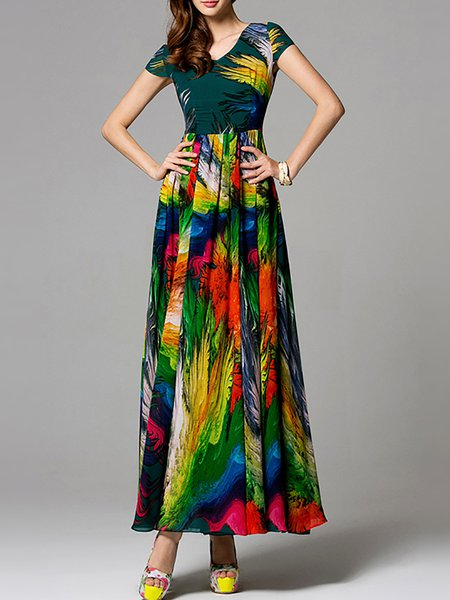 Green Chiffon Short Sleeve Printed/Dyed Maxi Dress