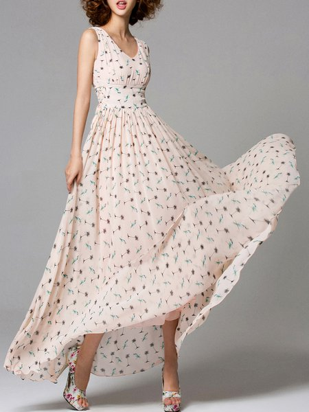 Pink Swing Sleeveless Floral-print Maxi Dress