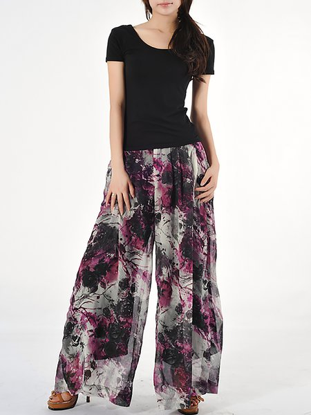 Purple Casual Floral-print Wide Leg Pants