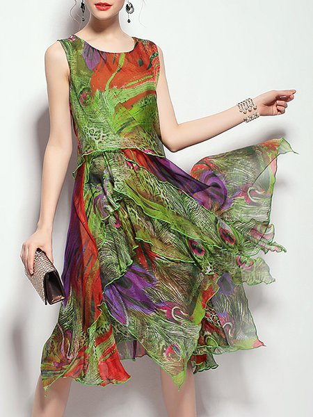 Plus Size Green Printed Sleeveless Silk Crew Neck Midi Dress
