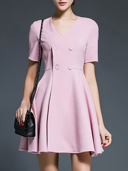 Pink Simple Cotton Buttoned Mini Dress