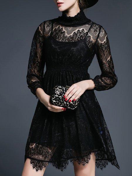 Black Turtleneck Pierced Two Piece Half Sleeve Mini Dress