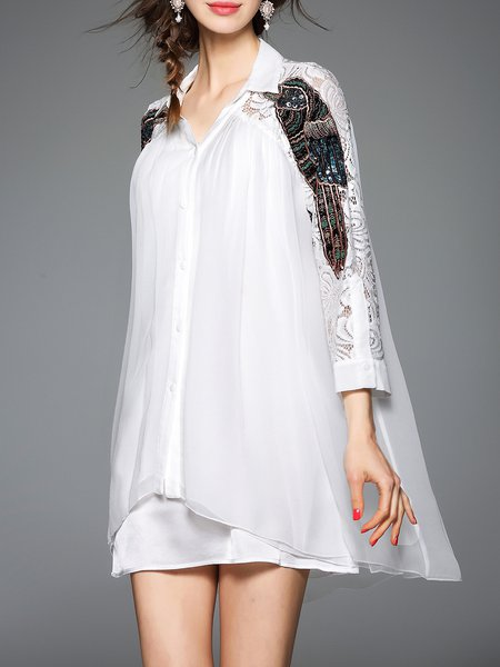 White 3/4 Sleeve Chiffon Embroidered Mini Dress