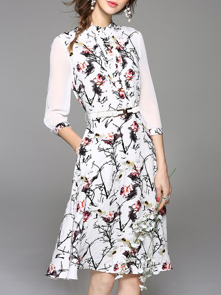 Elegant 3/4 Sleeve Stand Collar Midi Dress with Belt