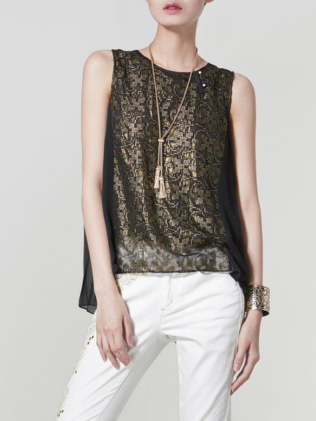 Sleeveless Embroidered Abstract Casual Tank