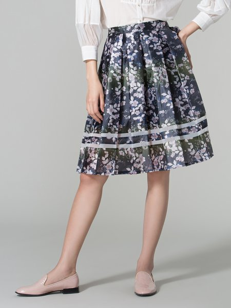 Multicolor Polyester Casual Midi Skirt