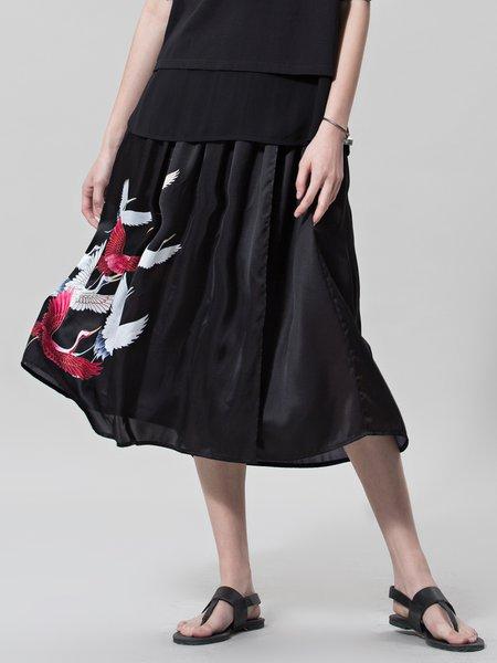 Black A-line Casual Midi Skirt