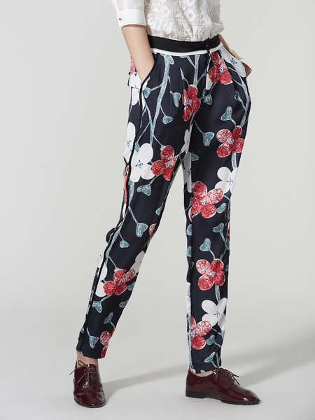 Multicolor Floral Casual Straight Leg Pants