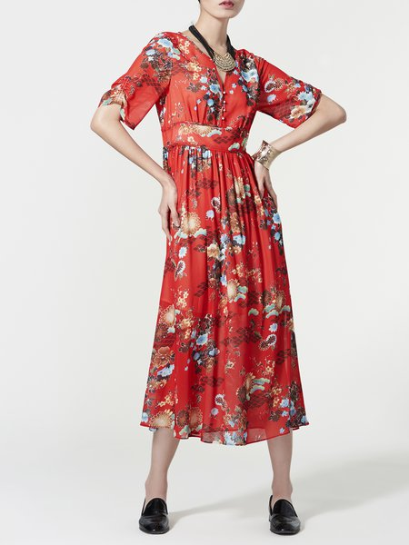 Red Chiffon Swing Half Sleeve V Neck Midi Dress