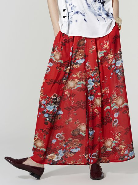 Red Floral Casual Wide Leg Pants