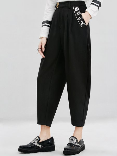 Black Casual Viscose Pockets Plain Track Pants