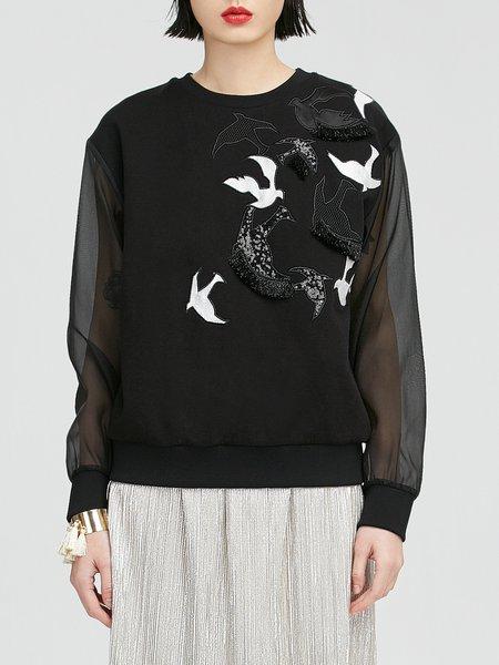 Black Cotton-blend Crew Neck Long Sleeve Sweatshirt
