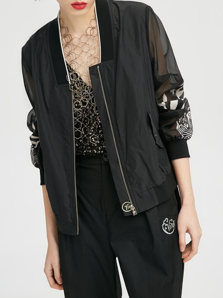 Black Paneled Polyester Casual Letter Bomber Jacket