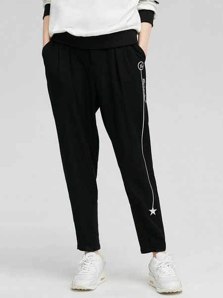 Black Pockets Casual Track Pants
