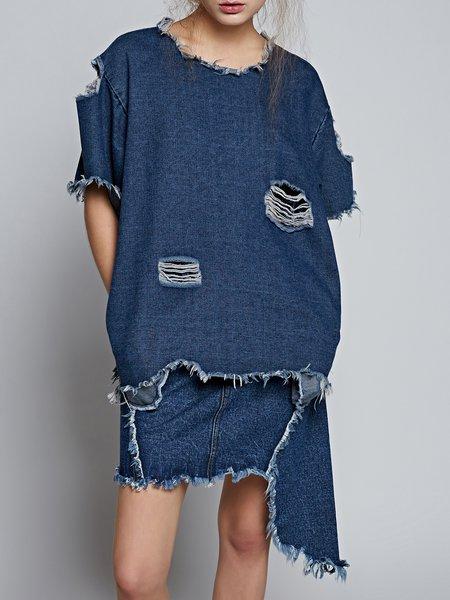 Blue Cutout Short Sleeve Short Sleeved Top