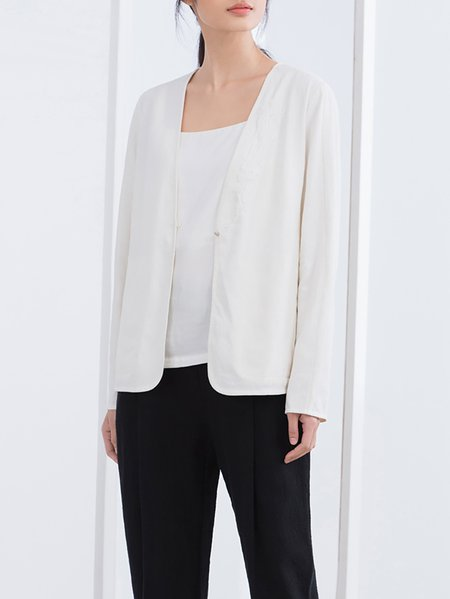 Long Sleeve Plain Simple Embroidered Cropped Jacket