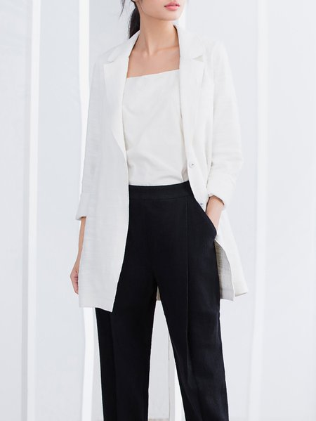 White Simple H-line Cotton Paneled Blazer