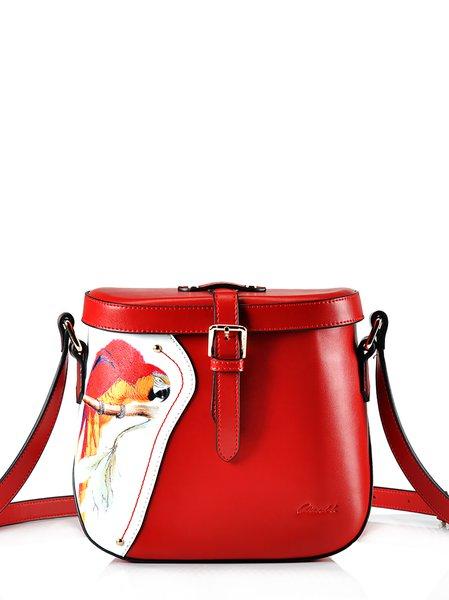 Cowhide Leather Casual Medium Magnetic Shoulder Bag