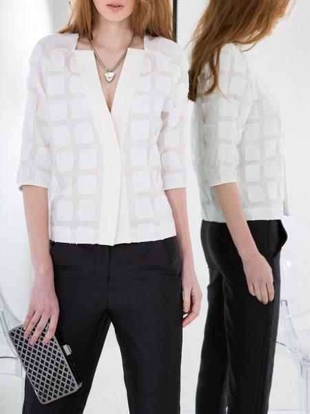 White Plain Work Jacquard Silk Cropped Jacket