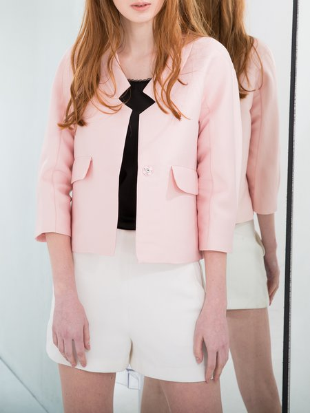 V Neck Plain Silk 3/4 Sleeve Cropped Jacket