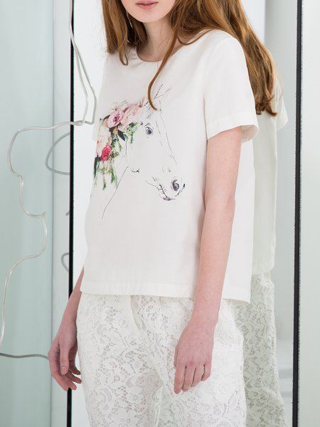 White Silk Casual T-Shirt