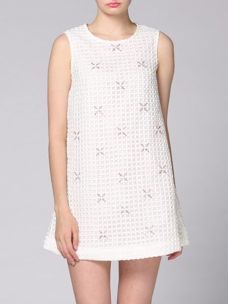 White Crew Neck Beaded Sleeveless Mini Dress