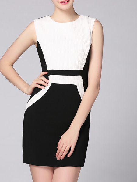 Black Elegant Color-block Mini Dress