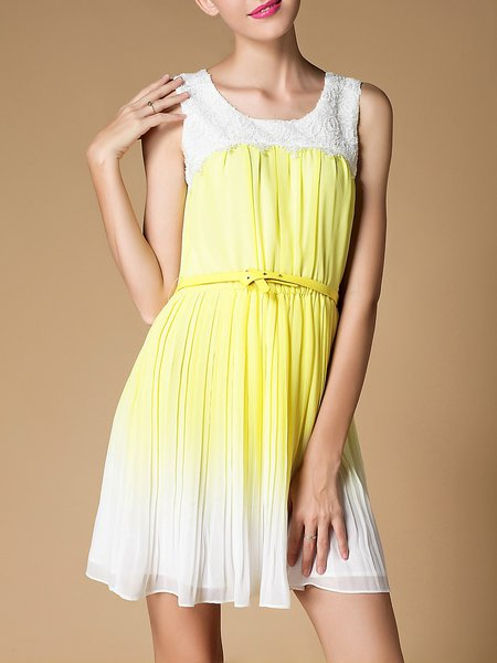 Yellow Pleated Crew Neck Elegant Mini Dress