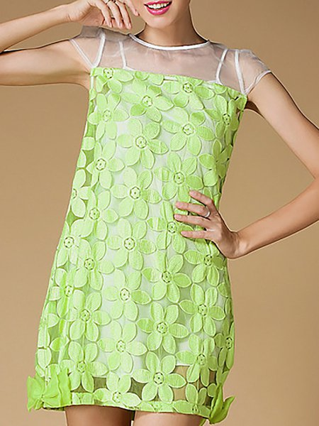 Green Shorts Sleeve Organza Paneled Mini Dress