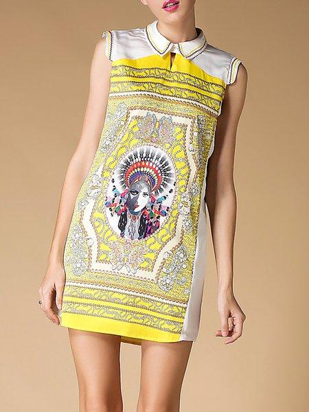 Yellow Sleeveless Printed Mini Dress