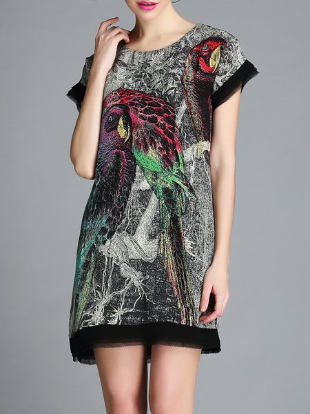 Silk H-line Abstract Casual Short Sleeve Mini Dress
