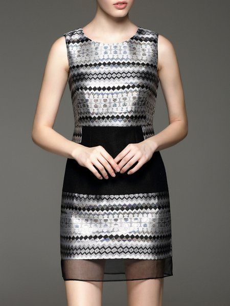 Silver Sleeveless Bodycon Silk Geometric Mini Dress