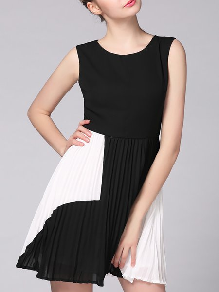 Black Simple Crew Neck Color-block A-line Mini Dress