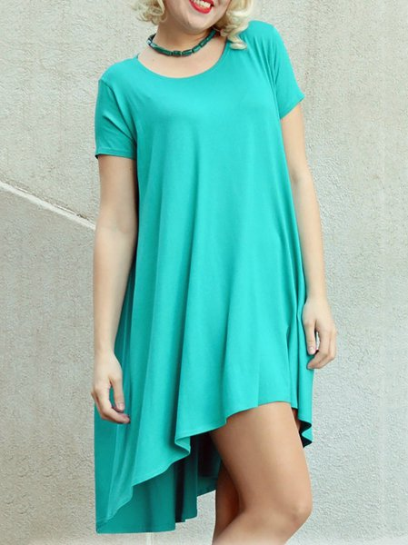 Asymmetrical Casual Short Sleeve Mini Dress