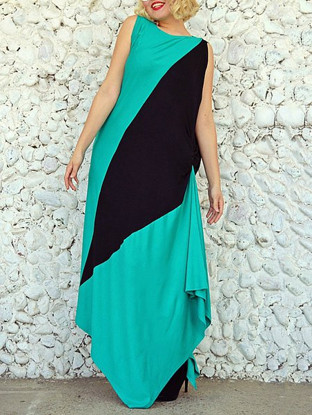 Casual Sleeveless Viscose Asymmetrical Crew Neck Maxi Dress