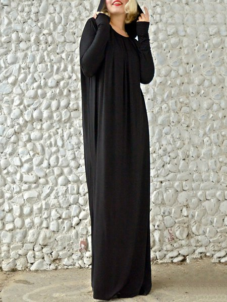 Black Casual Plain Cotton Maxi Dress
