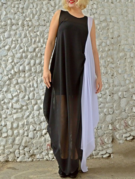 Plain Sleeveless Casual Crew Neck Maxi Dress