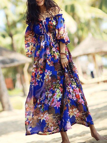 Short Sleeve Polyester Floral Beach Maxi Dress
