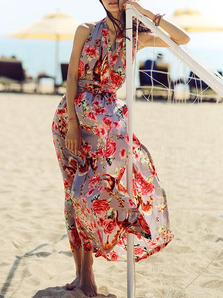 Sleeveless Swing Beach Polyester Halter Maxi Dress