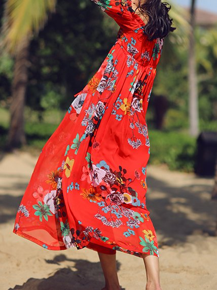 Long sleeve red dress maxi