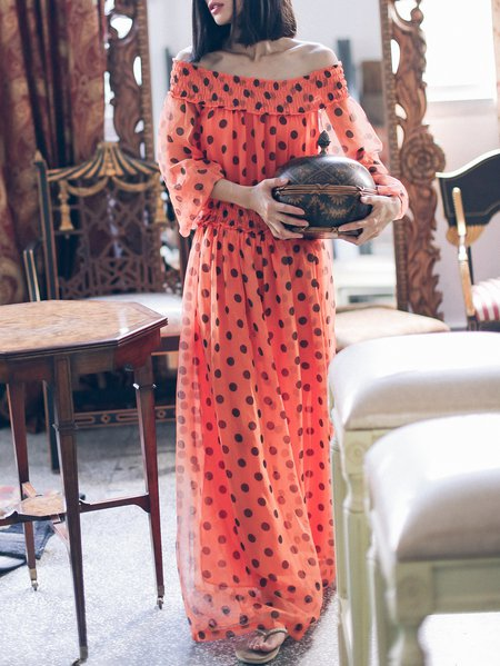 Off Shoulder Long Sleeve Beach Polka Dots Maxi Dress